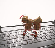 Online het winkelen het 3d teruggeven Royalty-vrije Stock Afbeeldingen