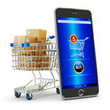 Online het winkelen, Internet-aankopen en elektronische handelconcept Royalty-vrije Stock Foto