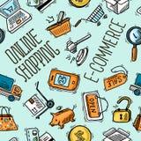 Online het winkelen patroon vector illustratie
