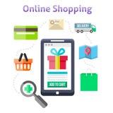 Online het winkelen pictogrammen Stock Afbeeldingen