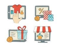 Online het winkelen pictogrammen Stock Foto