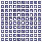 100 online het winkelen pictogrammen geplaatst grunge saffier Royalty-vrije Stock Afbeeldingen