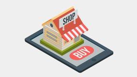 Online het winkelen proces met isometrische projectie, beschikbaar in 4k royalty-vrije illustratie