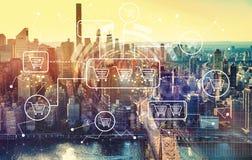 Online het winkelen thema met luchtmening van Manhattan, NY Stock Afbeelding