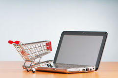 Online het winkelen van Internet concept stock afbeeldingen