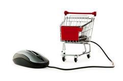 Online het winkelen van Internet concept met computer stock foto's