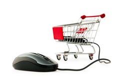 Online het winkelen van Internet concept met computer royalty-vrije stock afbeelding