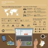 Online het winkelen vector infographic Symbolen, pictogrammen Stock Foto