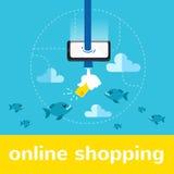Online het winkelen vectorillustratie Royalty-vrije Stock Foto