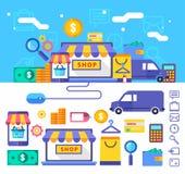 Online het winkelen vectorinzamelingsconcept binnen Stock Afbeeldingen