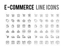 Online het winkelen vectorlijnpictogram - ontvankelijke app en mobiel Web vector illustratie