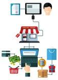 Online het winkelen vlak concept Stock Fotografie