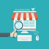 Online het winkelen vlakke illustratie Royalty-vrije Stock Afbeeldingen