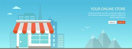 Online het winkelen vlakke illustratie Stock Foto