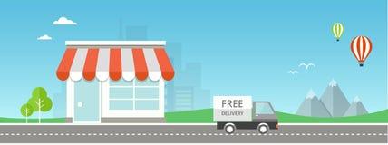 Online het winkelen vlakke illustratie Stock Fotografie