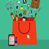 Online het winkelen zak royalty-vrije illustratie