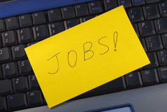Online het zoeken naar een baan stock foto