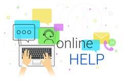 Online-Hilfe und on-line-Unterstützung auf kreativem Konzept des Laptops vector Illustration Stockbilder