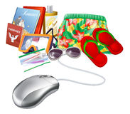 Online holiday vacation travel sale. Icon of a computer mouse with holiday vacation items Royalty Free Stock Images