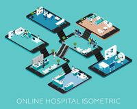 Online Hospital Isometric Scheme Icons Royalty Free Stock Photo