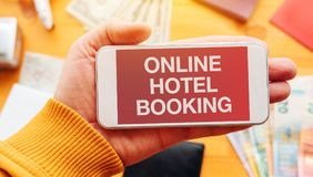 Online hotel booking app Stock Photo
