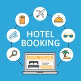Online hotel booking. Laptop with holiday icons. Holiday vacation concept. Renting accommodations. Book button and bed. Icon on screen. Vector illustration Royalty Free Stock Images
