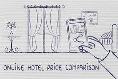 Online hotel price comparison, sharing the photo of an hotel roo Royalty Free Stock Photo