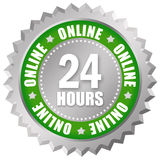 Online 24 hours. Icon isolated on white Stock Image