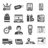 Online Icon Black Set Stock Images