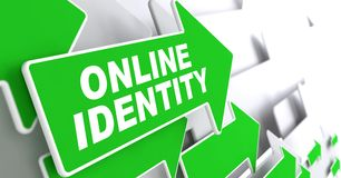Online Identity on Green Direction Sign - Arrow. Royalty Free Stock Photography