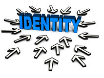 Online identity protection. Word identity surrounded by web cursors, concept of online information security and personal information safety Royalty Free Stock Photo