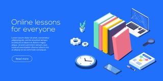 Online-illustration för utbildningsbegreppsvektor i isometrisk design royaltyfri illustrationer