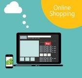 Online-illustration för vektor för shoppinglägenhetbegrepp stock illustrationer