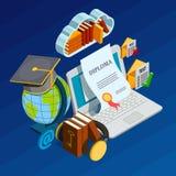 Online imparare concetto isometrico illustrazione di stock