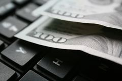 Online Income With Hundreds On Computer Keyboard In Black & White High Quality