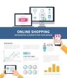 Online infographic winkelen Stock Fotografie
