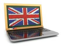 Online inglese E-learning Computer portatile e lavagna con la bandiera BRITANNICA Immagine Stock