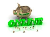 ONLINE - inskrypcja jaskrawy - zieleń listy i złocisty prosiątko Fotografia Royalty Free