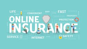 Online insurance concept. Online insurance concept illustration. Health and real estate, savings and business Stock Images