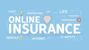 Online insurance concept. Online insurance concept illustration. Health and real estate, savings and business Royalty Free Stock Photos