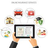 Online Insurance Services. Concepts online insurance services. Man holding tablet pc in hand and touching buy app. Flat style icons Car, House, Medical vector illustration