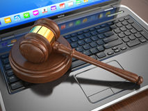 Online internet auction. Gavel on laptop. 3d Stock Photography