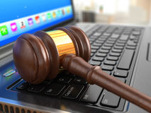 Online internet auction. Gavel on laptop. Royalty Free Stock Image