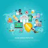 Online internet banking protection concept poster. Internet banking global money transfer operations protection safety guard software poster with shield symbol vector illustration