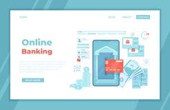 Online Internet-bankwezen Betaling voor aankopen via smartphone Snel gemakkelijk veilig mobiel bankwezen Creditcardtransactie, fi vector illustratie