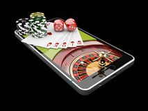 Online Internet casino app,poker cards with dice and casino chips on the phone. 3d illustration. Online Internet casino app,poker cards with dice and casino stock photos