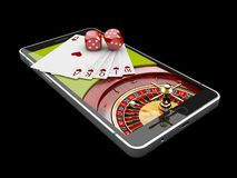 Online Internet casino app,poker cards with dice on the phone, gambling casino games. 3d illustration. Online Internet casino app,poker cards with dice on the stock photography