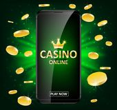 Online Internet casino label with money coins. Casino jackpot winner poster gamble with text. Playing Web poker success royalty free illustration