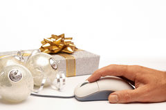 Online internet Christmas background with present Stock Photo
