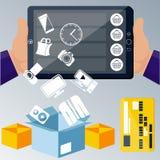 Online-internet för ecommerceteknologibegrepp vektor illustrationer